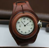 Antique WW1 New Leather STRAP Band WRISTBAND For Pocket Watch 50mm with a cover
