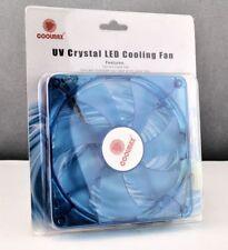 New Blue Coolmax 140mm UV Crystal LED Cooling Fan 64.95 CFM 140x140x25 mm 12V