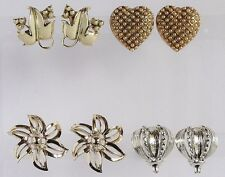 Vintage Lot 4Pr Clip Earrings Coro Bergere Heart w Faux Pearls Vine Leaf VGC 17