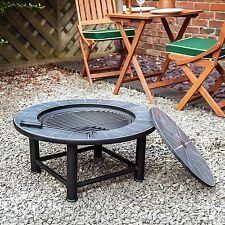 Patio Backyard Fire Pit Heater Outdoor Garden Ceramic Table Firepit Barbecue BBQ