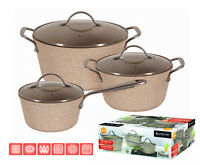 ENERGY SAVING 6 pc Pot Set SAUCEPAN Cookware CASTED ALUMINIUM non stick STONE