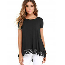 Women Lace Short Sleeve Casual Crew Neck Loose Tunic Tops T-Shirt Summer Blouse