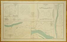 AUTHENTIC CIVIL WAR MAP ~ FORTS / BATTERIES ~ MEMPHIS & NASHVILLE TENN.