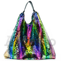 Women Sequin Handbag Rainbow Clutch Bag Paillette Shoulder Bag Lady Shopping Bag