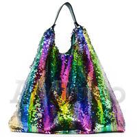Women Sequin Shoulder Rainbow Reversibility Handbag Glitter Gradient Clutch Bag