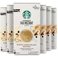 Starbucks Via White Chocolate Mocha Latte Flavor 6 Boxes 30 Packs Best By 1/21