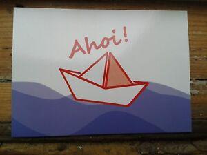 Postkarte Grußkarte Ahoi mit Papierschiff Boot MARITIM segeln