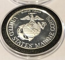 United States Marine Corps Armed Forces 1 Troy Oz .999 Fine Silver Ag Round Coin