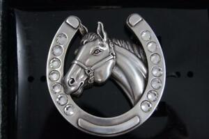 Nocona Blazin Roxx Horseshoe and Horsehead with Rhinestones Belt Buckle 37028