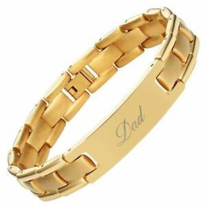 Mens Titanium Bracelet Father Engraved Best Dad Ever Jewellery Gift Box UK