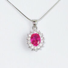 Solid 925 Sterling Silver Cut Red Corundum Halo Pendant Necklace 3 Chains