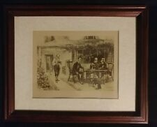 Antique W H Boucher Framed Etching OLD & CRUSTED by Dendy Sadler English Print