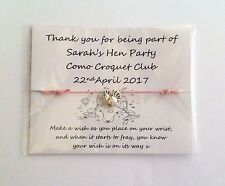 Personalised Hen Night/Party Friendship/Wish Bracelets party favours