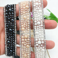 Fashion Pearl Beaded Trim Tape Ribbon DIY Sewing Clothing Headdress Appliques