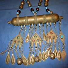 "Necklace Vintage Afghan Kuchi Tribal Alpaca Silver 24"" x 10"" wide"
