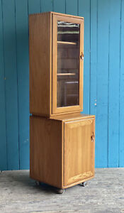 1 Of 2 Ercol Light Elm Display Cabinet Cupboards Mind Century Retro *DELIVERY🚚