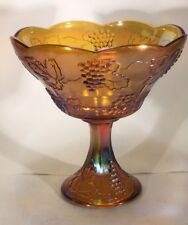 VINTAGE Carnival Glass FOOTED BOWL Iridescent Gold Amber Harvest Grape