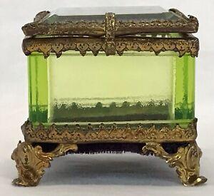 Antique Victorian Brass & Beveled Green Glass Casket Trinket Jewelry Box Holder