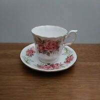 Clare bone china Teacup & Saucer with Pink Roses made in England