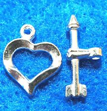 50Sets WHOLESALE Silver-Plated HEART Toggle Clasps Hooks Tibetan Findings Q0999