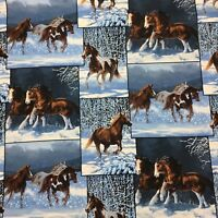 Snow Horses Running Free Winter  Snow Sewing Quilting Fabric Patchwork  FQ