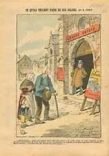 Caricature Laïque Désacralisation Eglises en Music-Hall France 1905 ILLUSTRATION