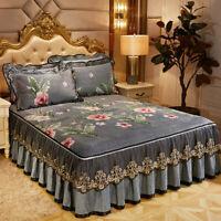 Thick Floral Velvet Zippered Bed Cover Skirt Queen Full Size Bedspread Set Sheet