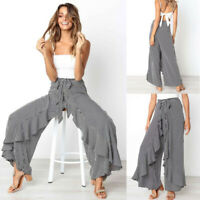 Womens Boho Floral Long Pants Palazzo Wide Leg Yoga Loose Baggy Harem Trousers