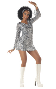 Womens Disco Diva 70s Hippy & Hippie Festival Fancy Dress Costume