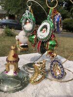 VTG Fancy Lot Of 10 Beaded Sequin Handmade Christmas Tree 🎄 Ornaments~SPARKLE!