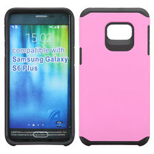 For SAMSUNG Galaxy S6 EDGE PLUS PHONE PINK BLACK FUSION HYBRID SKIN CASE COVER