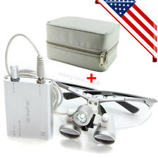 Dental Loupes 3.5X 420mm Surgical Binocular + LED Head Light Lamp + Free Case