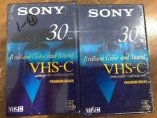 Sony VHS-C Premium Grade 30 min Camcorder Videocassettes 2 New In Package