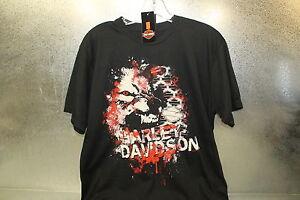 New Harley Davidson Off The Wall Black Short Sleeve Tee Shirt Sz Med