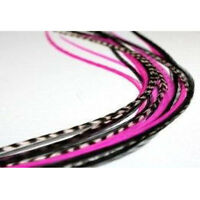6-10 inch Hot Pink,Grizzly,Black Remix 100% Real Hair 5 Feather Extensions bond