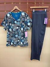 New Healing Hands Pewter Print Scrubs Set With 3Xl Top & 3Xl Petite Pants Nwt