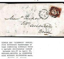 GB SOM Cover *MISSENT TO TAUNTON* 1858 Bristol Sideways Duplex {samwells}686f