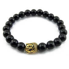 Bracelet Zen Onyx noir avec tête de Bouddha doré - Bracelet with golden buddha