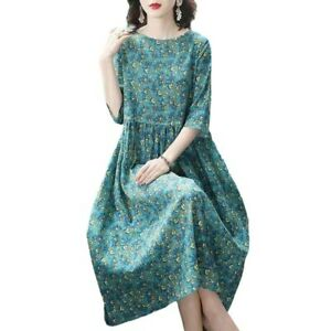 Fashion Women Floral Printed Maxi A-Line Dress Summer Casual Dresses Large Size