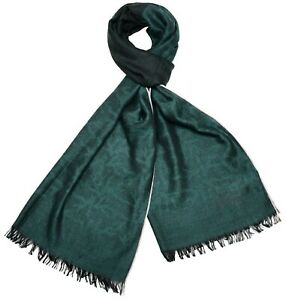 Isaia Scarf Cashmere Silk Green Coral Design 06SF0103 $595