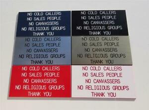 No Cold Callers, Sales People, Religious Groups etc engraved door sign, plaque