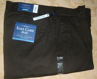 NWT 32x34 (34x34) CROFT & BARROW EASY CARE Khaki CLASSIC Fit PLEATED PANTS BROWN