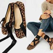 Zara piel de leopardo con cordones cierre tobillo ballet con arco EU 35/UK 2/USA 5