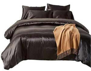Bedroom Quilt Cover Bedding Set - Satin Silk Silky Microfiber Duvet Cover Set