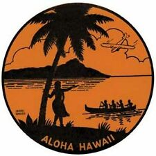 Hawaii     Vintage-1940's Style    Luggage Label/Travel Sticker/Surfing Decal