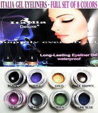 8 PCs Italia Long Lasting & Water Proof Gel Eyeliners *US SELLER *8 Colors