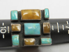 DZ. STAMPED RING 925 SILVER SIZE 9 TURQUOISE MAYBE OZ. LARGE SQUARE RING