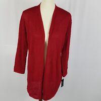 New Alfani womens knit open cardigan cape sweater medium red waterfall shimmer