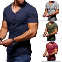 Summer Men's T Shirt Tops V Neck Basic Muscle Tees Sports Gym Running Fitness