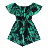 Women's Plus Size Summer Jumpsuit Off The Shoulder Tree Print Ruffle Rompers New